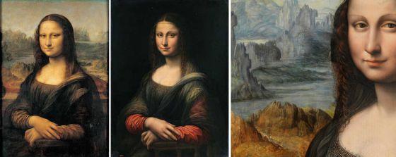 A la izquierda la Gioconda del Louvre. En el centro, la copia como se encontraba en el Prado. A la derecha, un detalle de la restauración
