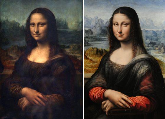 A la izquierda, la 'Gioconda' original, la de Leonardo, y a la derecha, la réplica de uno de sus discípulos