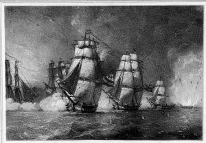 Ilustración de la explosión de la fragata Nuestra Señora de las Mercedes (1804), hundida por los ingleses.