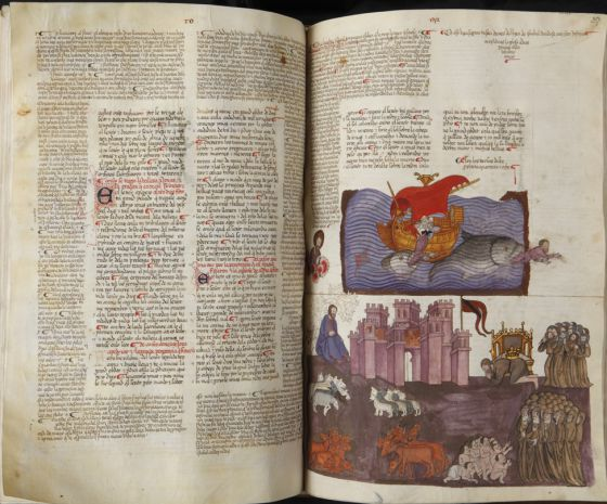 La 'Biblia de Alba', que puede contemplarse en la exposición de la Biblioteca Nacional.