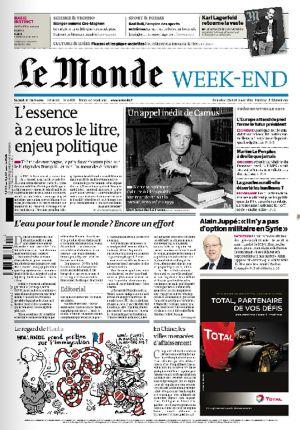 Portada de 'Le Monde' con la noticia sobre Camus