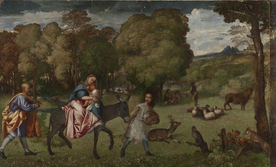 'La huida de Egipto', cuadro de Tiziano propiedad del museo del Hermitage, en San Petersburgo
