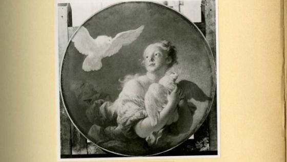 Fotografía de un cuadro de Fragonard de los archivos de obras de arte robadas de Hitler.