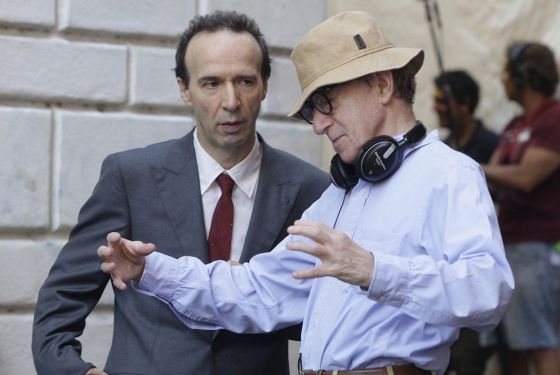 Woody Allen y el actor italiano Roberto Benigni durante el rodaje de 'To Rome with love'.