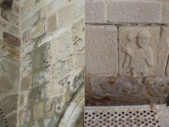 Detalle del relieve 'Herrero, la inscripcion y san Pedro' en la iglesia de San Cipriano antes de la restauración y después a falta de rejuntar.