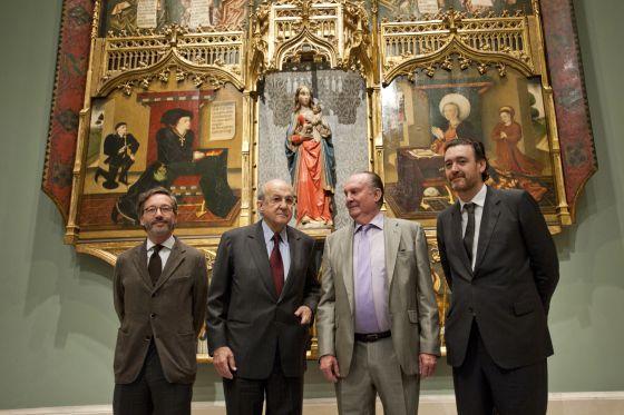De izqda. a dcha., el secretario de Estado de Cultura, José María Lassalle, Plácido Arango, el duque del Infantado y el director del Prado, Miguel Zugaza.