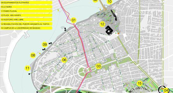 Uno de los planos del barrio de Adhamiya con las propuestas del estudio AV62