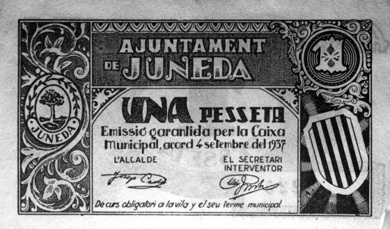 Dinero emitido por el Ayuntamiento de Juneda durante la Guerra Civil Española.