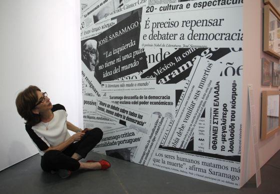 Pilar del Río, compañera sentimental de Saramago, en la fundación del escritor, en Lisboa.