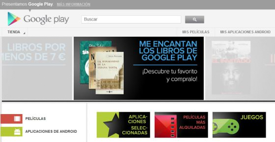 Aspecto del portal Google Play