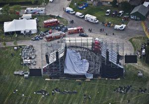 Vista aérea del escenario hundido en Toronto del concierto de Radiohead.