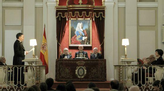 El catedrático de Historia del Arte Fernando Marías pronuncia su discurso de ingreso en la Real Academia de la Historia