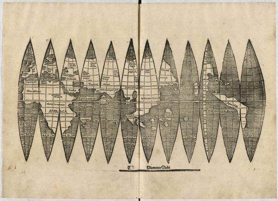 El ejemplar del llamado mapamundi Waldseemüller encontrado en la universidad Ludwig-Maximilians (LMU) de Múnich.