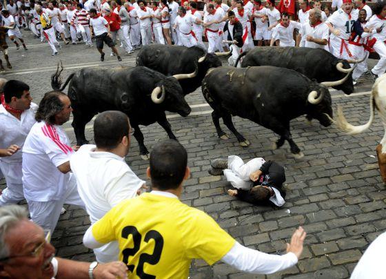 Los mozos corren ante los toros de Fuente Ymbro.