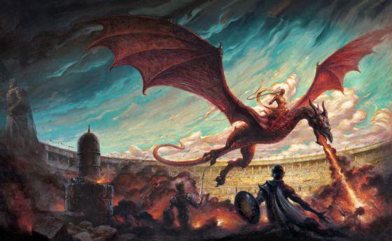Ilustración de Enrique Corominas para la portada de 'Danza de dragones'