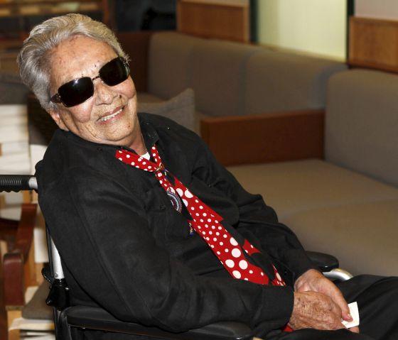 Chavela Vargas en el homenaje recibido la semana pasada en la Residencia de Estudiantes de Madrid.