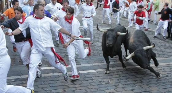Séptimo encierro de los Sanfermines con toros de Domecq.