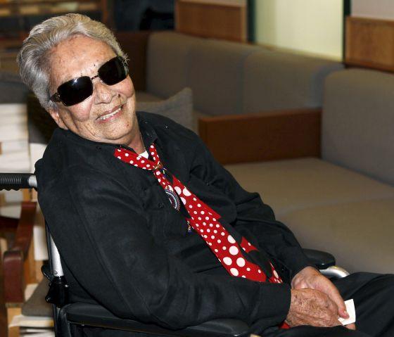 La cantante Chavela Vargas en su última visita a España hace unos días.