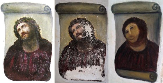 El antes y el después del 'Ecce Homo' original del artista Elías García Martínez