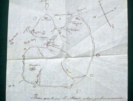 Mapa histórico de la isla costarricense de Coco.