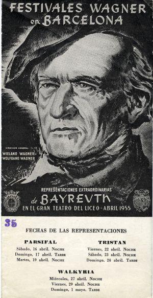 Cartel de la primera visita del Festival de Bayreuth a Barcelona en 1955.