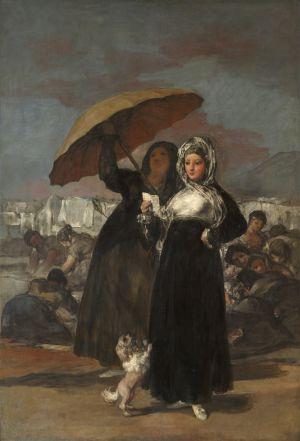 Una maja vestida de negro sostiene en sus manos una carta. Francisco de Goya.