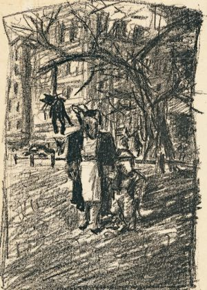 La litografía 'En el parque con mamá', de 1979.