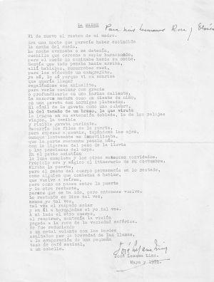 """El poema 'La madre', en un original hasta ahora inédito, mecanografiado con firma y dedicatoria manuscrita, en la que se puede leer: """"Para mis hermanas Rosa y Eloísa""""."""