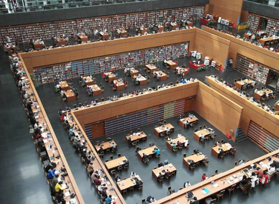 Biblioteca Nacional de China, en Pekín. Imagen de la web del documental 'Google and the world brain'.