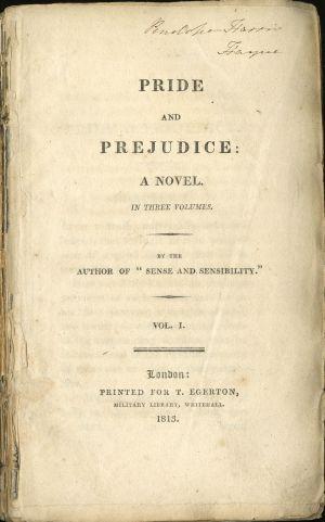 Primera página de la edición de 'Orgullo y prejuicio', de Jane Austen, del 28 de enero de 1813.