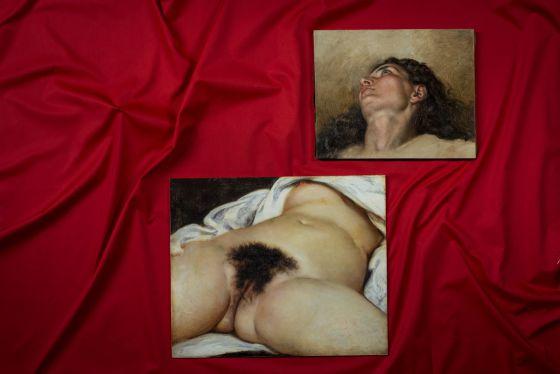 Imagen del cuadro hallado en un anticuario; abajo, reproducción de 'El origen del mundo', de Courbet.