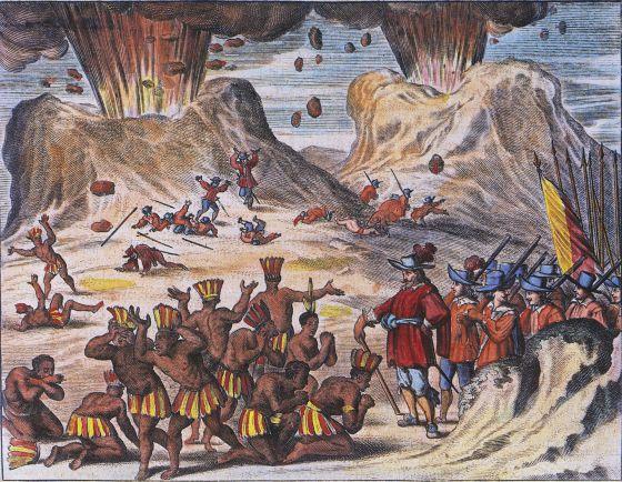 Grabado del siglo XVII que muestra a miembros de la tribu Tlaxcala implorando a Hernán Cortés, junto a los volcanes Popocatepetl y Iztaccihuatl.