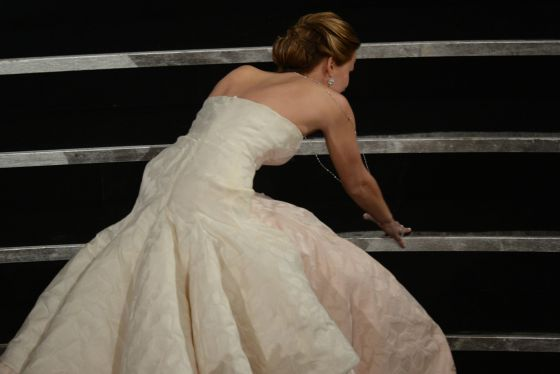 Jennifer Lawrence, en el momento de su caída.