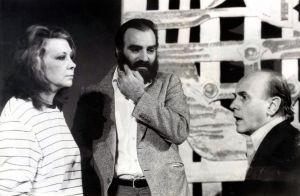 María Asquerino junto a José Luis Alonso y Francisco Casares durante la grabación de un programa de TVE en 1982.