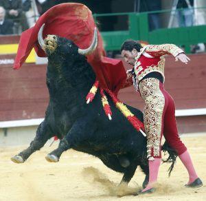 Pase de pecho de Finito de Córdoba a uno de los toros de Fuente Ymbro.