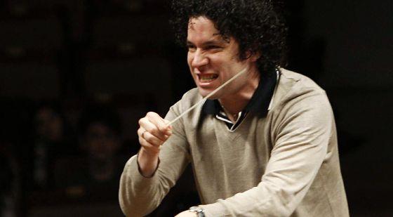 El director venezolano, Gustavo Dudamel, en un ensayo en Madrid en 2009.