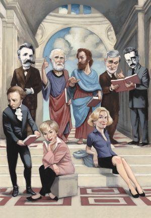 De izda. a dcha. y de arriba abajo: Nietzsche, Platón, Aristóteles, Gianni Vattimo, Walter Benjamin, Immanuel Kant, Julia Kristeva y Martha Nussbaum.