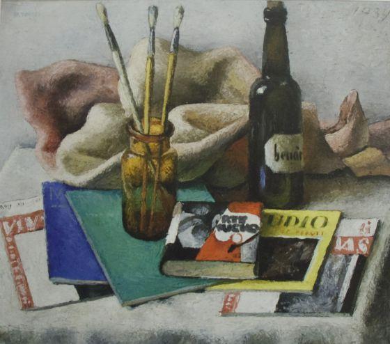 La pintura 'Bodegón dos libros', del pintor gallego Manuel Torres.