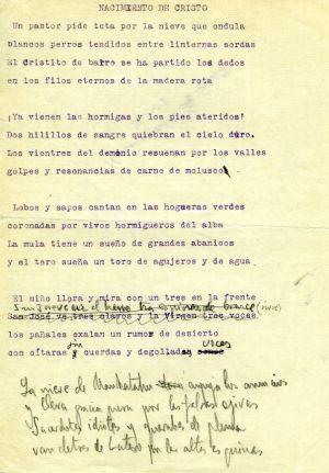 Apuntes manuscritos de Lorca sobre 'Nacimiento de Cristo'.
