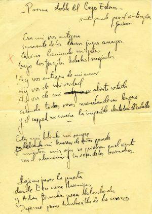 Primera página, 'Poema doble del Lago Eden'.