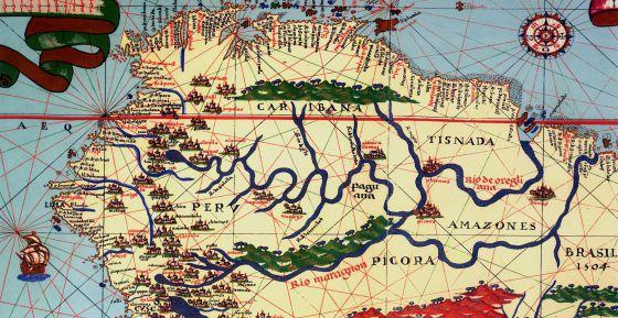 Mapa del Amazonas en el atlas de Joan Martines, de 1587.
