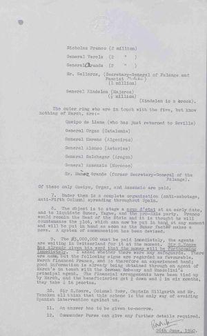 Documento desclasificado en el que se muestra una lista de los generales sobornados.