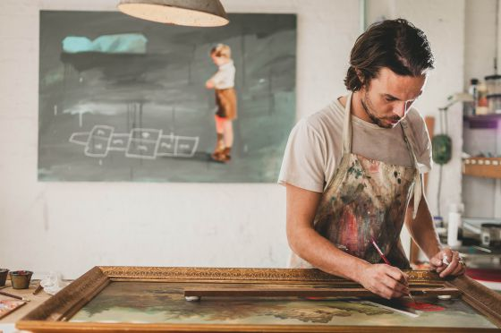 Oliver Jeffers, en su estudio de Brooklyn.