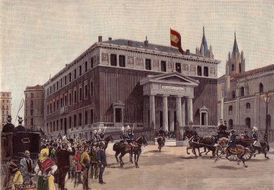 Dibujo de Juan Comba publicado en 'La ilustración Española y Americana' sobre la inauguración de la actual sede de la RAE el 1 de abril de 1894.