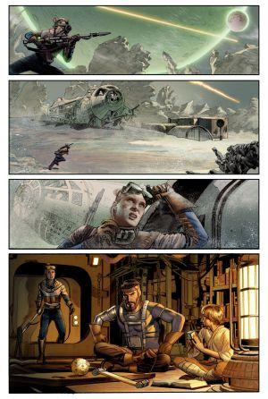 Página del primero de los ocho números de los que constará el tebeo, con Annikin Starkiller, su protagonista, de vuelta al hogar.