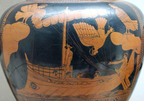 Vasija cerámica alusiva a los viajes de Ulises.