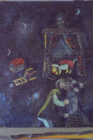 Una pantalla muestra una obra de Marc Chagall, de la colección recuperada en Múnich,