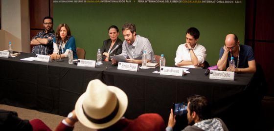 De izquierda a derecha: Rodrigo Hasbún, Guadalupe Nettel, Yolanda Pantin, Emilio Fraia, Juan Álvarez y Oliverio Coelho.