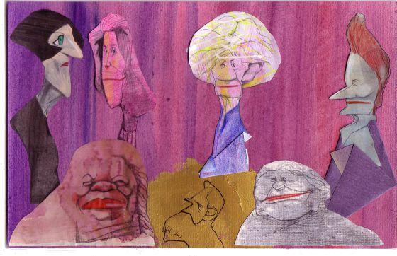 Arriba, Herta Müller, Nadine Gordimer, Alice Munro y Elfriede Jelinek. Abajo, Toni Morrison, Alfred Nobel y Doris Lessing.