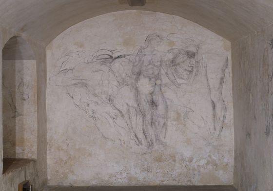 Dibujos atribuídos a Miguel Ángel en la habitacíón secreta de la Capilla de los Médici de Florencia
